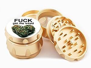 """Get Me Weed Design Premium Grade Aluminum Tobacco,Herb Grinder -4Pcs Large (2.5"""" Gold) # GLD-G022115-071"""