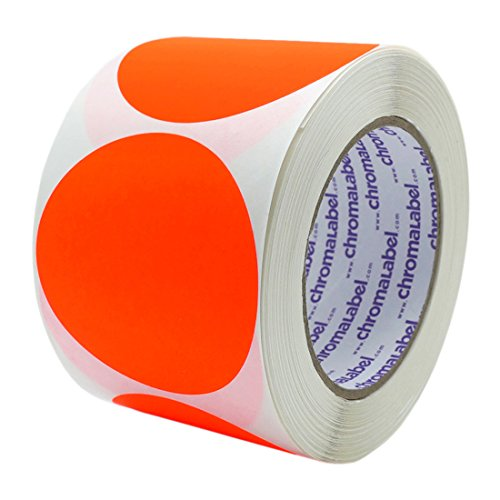 ChromaLabel 3 inch Color-Code Dot Labels | 500/Roll (Fluorescent Red Orange)