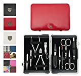 3 Swords Germany - brand quality 11 piece manicure pedicure grooming kit set for professional finger & toe nail care scissors clipper fashion leather case in gift box, Made by 3 Swords (03768)