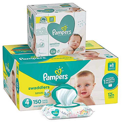 Pampers Swaddlers Disposable Baby Diapers Size 4, 150 Count and Baby Wipes Sensitive  Pop-Top Packs, 336 ()