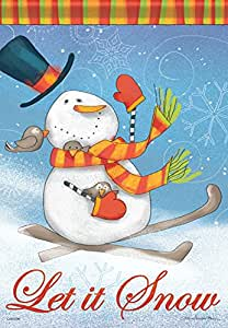 "Skiing Snowman Winter Garden Flag Snow Bird Let it Snow Top Hat Banner 13"" x 18"""