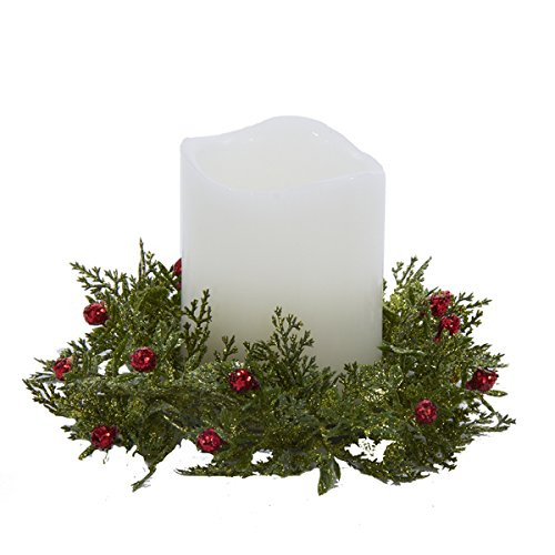 Christmas Candle Ring Glittered Holly w Red Berry D2499 Kurt Adler ()