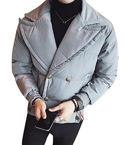 Winter Coat Outwear Breasted Thicken Mens Quilted Jacket Lapel MK988 Gray Double S8qFnOqf