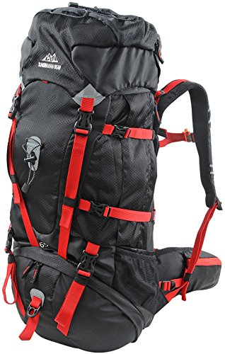 Scandinavian Gear 65l Backpack - Multi-Day Pack for Hiking, Backpacking with Rain Cover - Black/Red