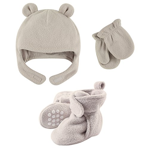 - Luvable Friends Fleece Winter Hat, Mittens and Booties Set, Light/Gray, 3T