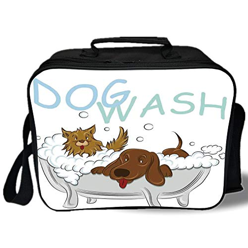 (Insulated Lunch Bag,Nursery,Playful Dogs in a Bathtub Grooming Each Other Cute Pets Theme Illustration,White Brown Blue,for Work/School/Picnic, Grey)