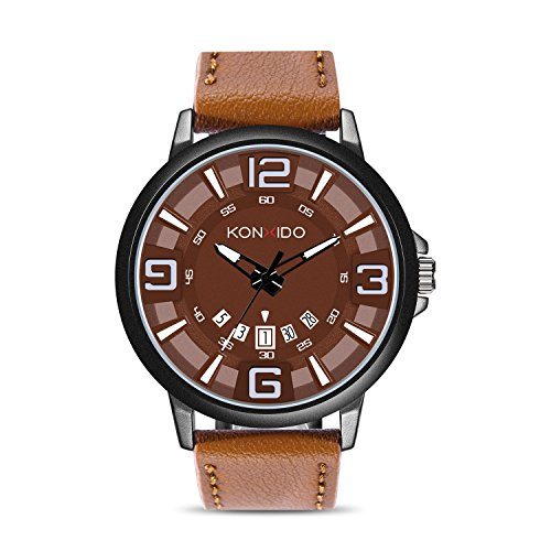 Dress Dial Brown (KONXIDO Mens Genuine Leather Band Wrist Watch, Minimalist Analog Quartz Watch, Classic Fashion Dress Watches for Men, Date Calendar Display, 30M Waterproof, Luminous Dial Brown)