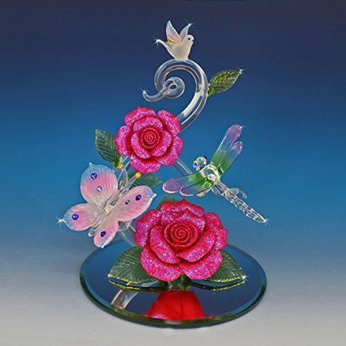 Handmade Blown Glass Butterfly and Dragonfly on Red Roses - In the Garden -