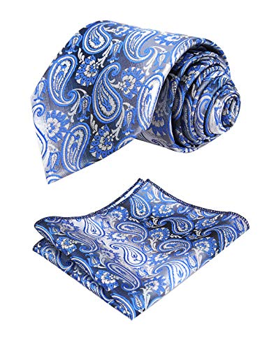 Alizeal Mens Gradient Paisley Tie and Handkerchief Set, Royal Blue