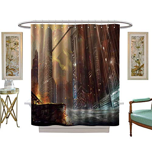 luvoluxhome Shower Curtains Digital Printing The City After war Realistic Style Scene Wallpaper Design Fabric Bathroom Set with Hooks W54 x L78