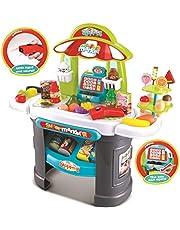 deAO Supermercado Tienda de Dulces Puesto de Mercado y Comida de Juguete Playset de Imitación Infantil Conjunto Incluye Accesorios Scanner Luces y Sonidos