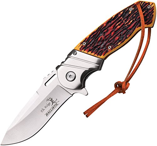 Elk Ridge – Outdoors Spring Assisted Folding Knife, 4.75-in Closed, 3.5-in Stainless Steel Blade, Brown Wood Handle, Black Bolster, Leather Lanyard, Pocket Clip – Hunting, Camping, Survival, EDC – ER-A003I