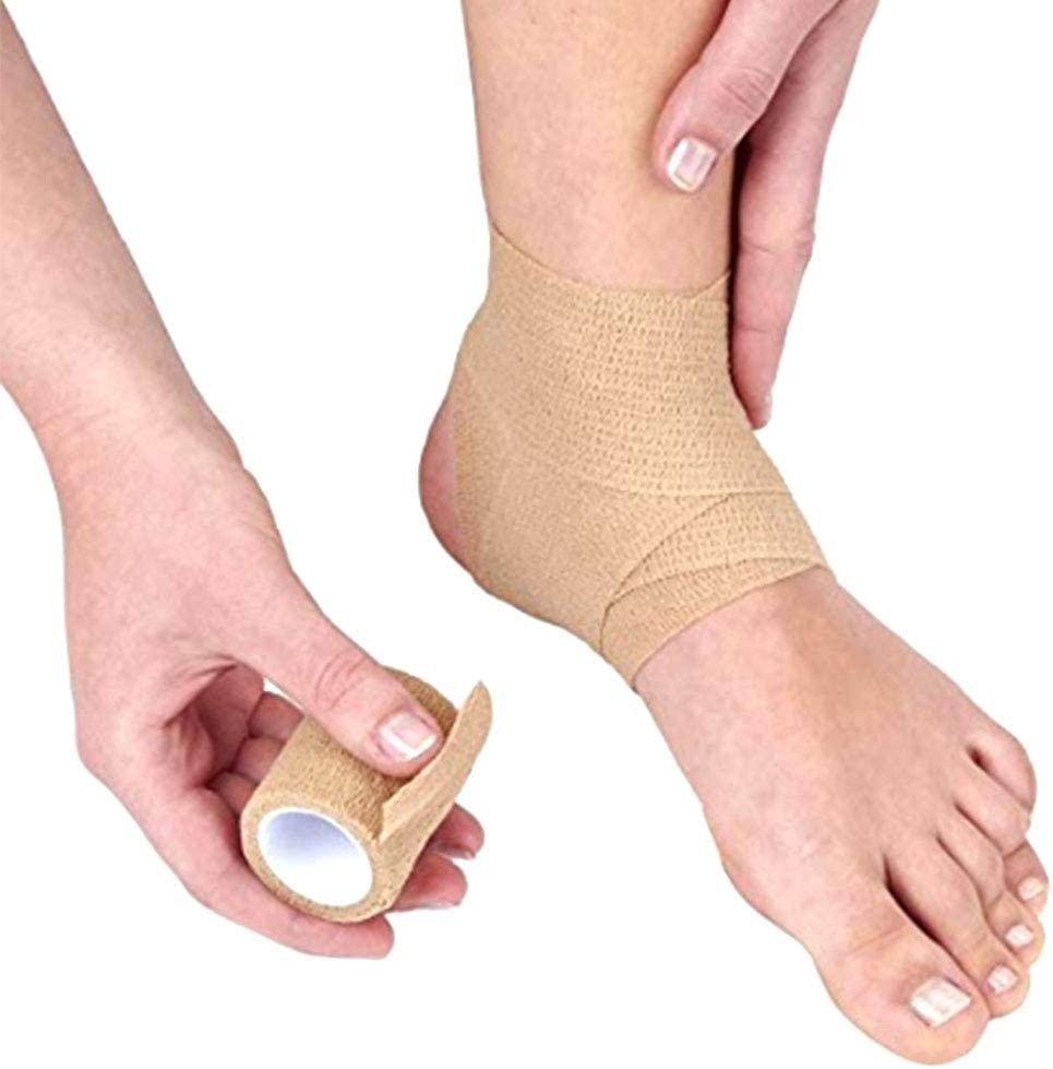 Adhesive Wrap Bandage Rolls Stretch Self-Adherent Cohesive Tape for Sports//Wrist//Ankle Swelling Sprains 5 Yards Each 12 Pcs