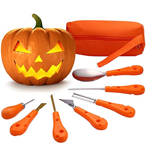 Pumpkin Carving Kit – 7 PCS Stainless Steel, Halloween Pumpkin Carving Tools Set for Kids and Adults