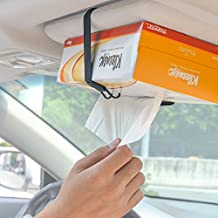 TFY Car Visor / Headrest Facial Tissues Boxs Strap Holder (Black)