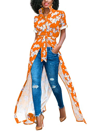 Salimdy Floral Long Button Down Belted Blouses for Women to Wear with Leggings Orange ()