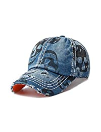 Casual Denim Baseball Cap with Skull Printing Unisex Adjustable Hat
