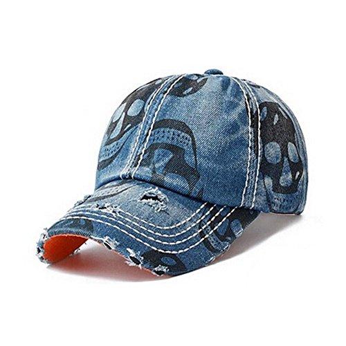 Upsmile Casual Denim Baseball Cap with Skull Printing Adjustable Hat Caps for Men ,Women ,Unisex-teens (Black)