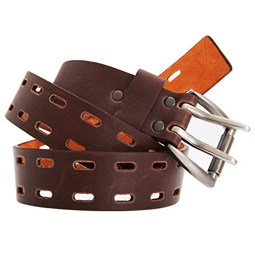 "- Forest Belts Mens 1.50 Inch Plain Leather Belt With Twin Pronged Buckle (Medium (32""-36"")) (Brown)"