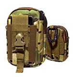 Arcraft(tm) CP MultiCam Molle Camo Bag Military 1000d Nylon Utility Tough Heavy Duty Tactical Compatible Waist Pack Universal Waist Bags Casual Climbing Hiking Outdoor Rock Gear Holster Pouch Cycling Carrying Big Pouch Belt Waist Bag / Pocket for Multi Phone Model