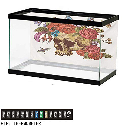 wwwhsl Aquarium Background,Day of The Dead,Vintage Sugar Skull Bouquet of Flowers Feathers Blooms Bugs and Bees Print,Multicolor Fish Tank Backdrop 24