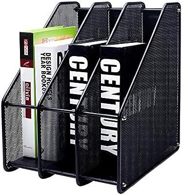 EXERZ Revistero archivador triple de malla metálica/Archivadores de revistas/Estante para escritorio- 3 Compartimentos para Organizador Archivo Documento/Cuadernos/Carpetas (Negro): Amazon.es: Oficina y papelería