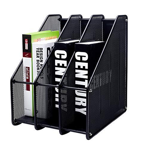 Exerz Mesh Magazine Holder Rack Wire Metal Triple Desktop - 3 Compartments File/Documents/Notebooks/Folder Paper/Desk Organizer Stand Office Study (EX3212 Black New)