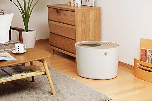 IRIS Top Entry Cat Litter Box with Cat Litter Scoop, White & Beige