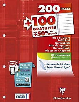 Clairefontaine - Ref 65819C - Un Bloc de Cours Encollé Grand Côté 200 Pages + 100 Gratuites Perforées 4 Trous grand carreaux A4 Vendu à l'Unité Bloc-note