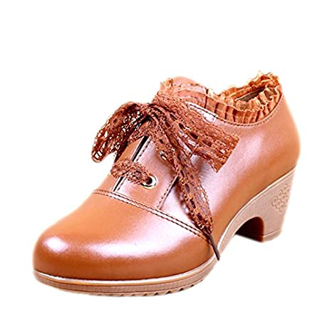 Duro Zapatos De Sdkir Profundo Cuero Mujer HDIW9E2