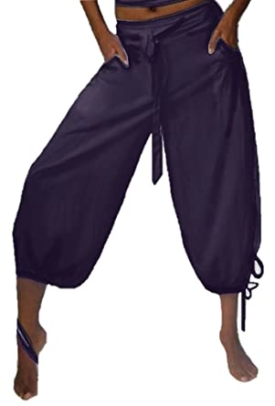 42ca7df59535a Lotustraders Capri Pant Gaucho Harem Drawstring Pocket Dark Plum Small G145