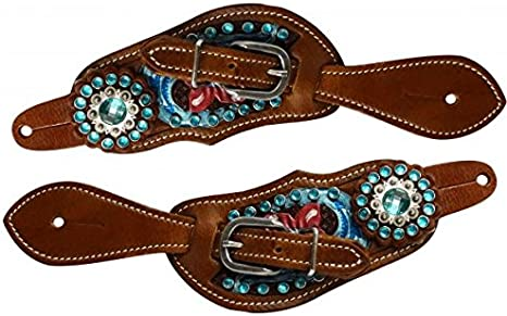 Ladies Small Size Spur Straps PINK BLING Tooled Leather Western Youth
