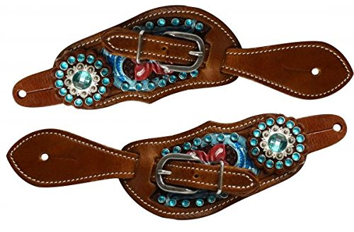 Showman Youth Size Floral Tooled Leather Spur Straps with Metallic Paint and Aqua Blue Crystals.