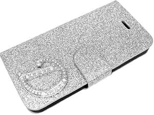 Exklusive-Cad SAM-S4-MINI-Etui-Glamour-D-Silber Exklusive Cad-Samsung Galaxy S4 MINI Glamour Glitzer Strass Carcasas Carcasa del tirón Tasche carcasa de la carcasa mit Magnetverschluss - Buchstabe D en Silber