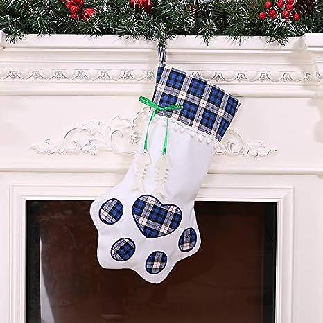 Qbisolo - Calcetines de Navidad, diseño de Huella de Perro, Huella de Perro,