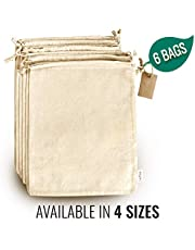 Reusable Produce Bags - Cloth Bags with Drawstrings for Bulk Food Storage, Muslin Bags, Canvas Fabric Bags, 100% Natural Cotton Bags Biodegradable Washable 12 pcs by Leafico