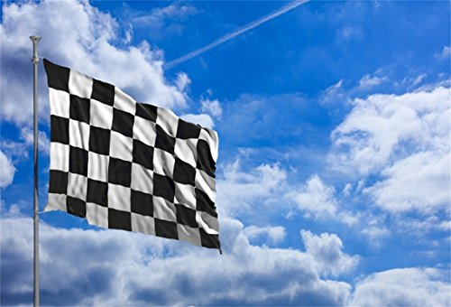 CSFOTO 7x5ft Background for Waving Checkered Flag in Front of a Cloudy Sky Photography Backdrop Competition Racing Car Motorsport Race Speed Sport Success Sign Photo Studio Props Polyester Wallpaper