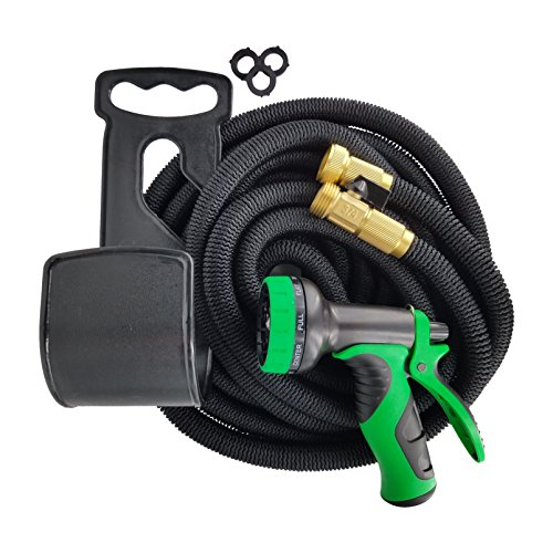 Garden Wand 50 Foot, Valved Brass Fitting, 4X Expandable, Kink Proof Garden Hose with 8 Pattern Spray Nozzle and Accessories (Green/ Black)