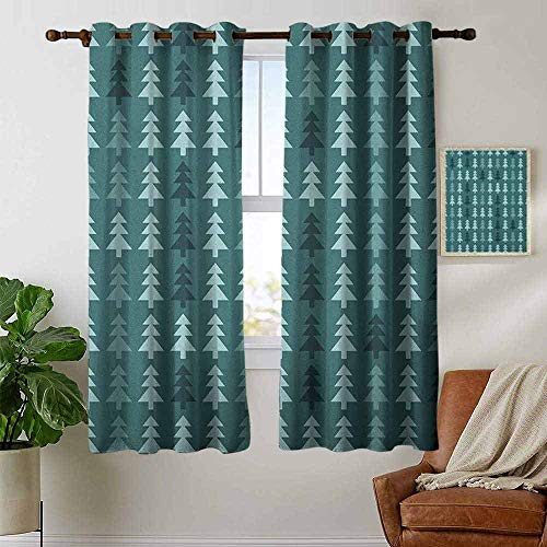 petpany Blackout Curtains Teal,Abstract Pine Fir Tree Silhouettes Triangular Christmas Wintertime Seasonal Forest Pattern, Teal,Insulating Room Darkening Blackout Drapes for Bedroom 42
