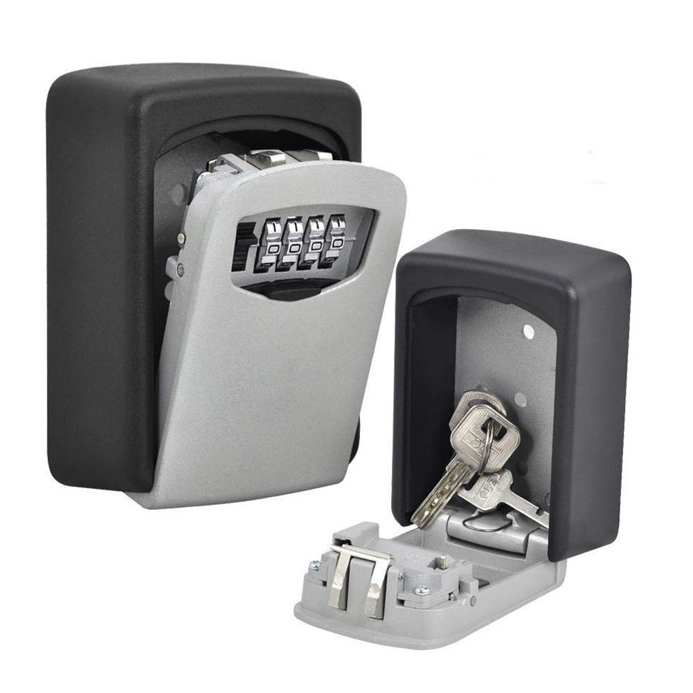 Key Lock Box, Wall Mount Security Medium Key Lock Box Heavy Duty Combination Key Safe Storage Lock Box, for Home Garage School Spare House Keys