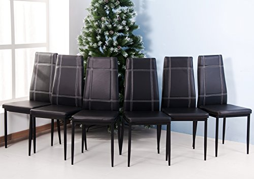 Merax 6pcs Dining Chairs in Black with Metal Leg and PU leather (4 PCS) (6 Pcs, Black) by Merax