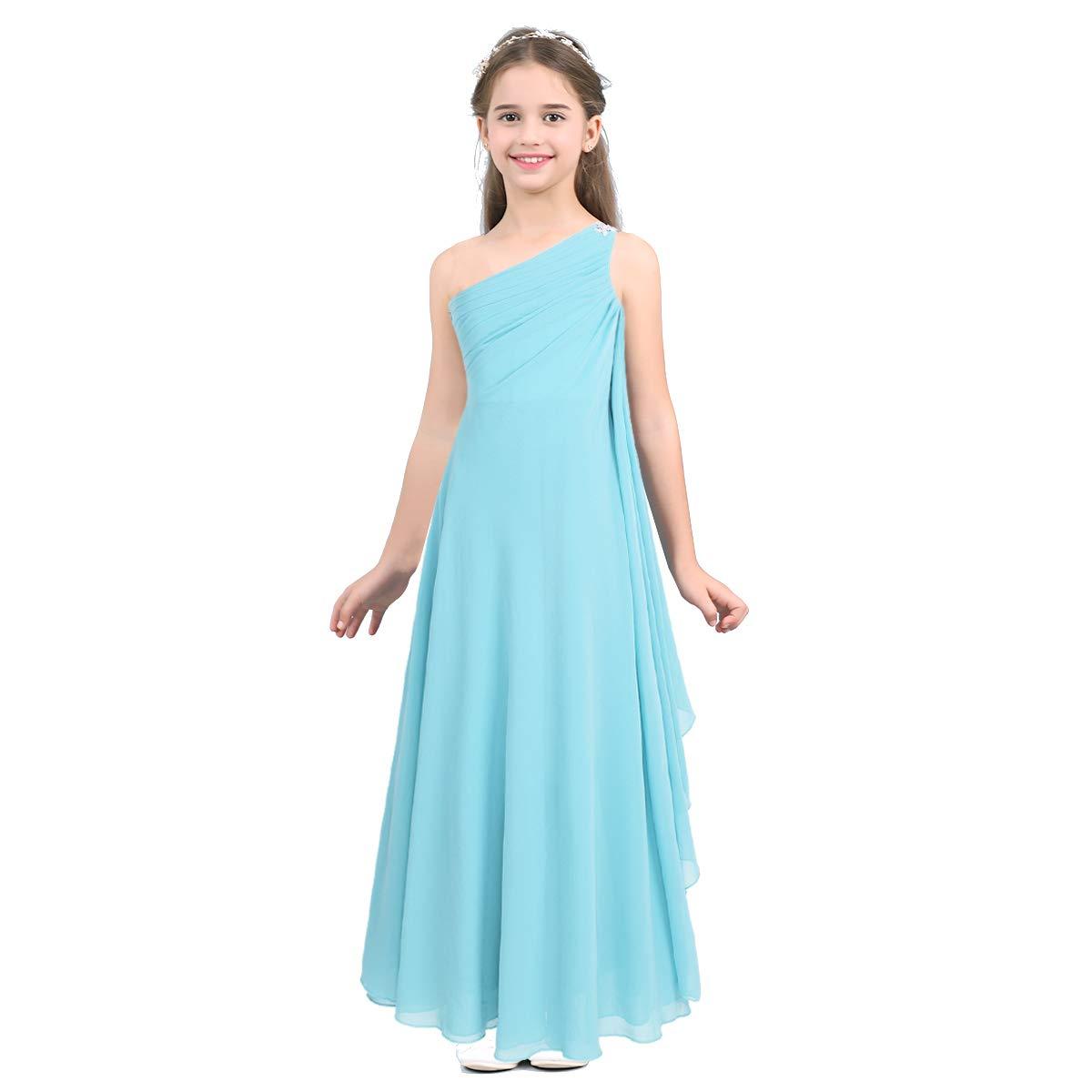 IEFIEL Vestidos Niñas Sin Mangas Vestido de Fiesta Princesa Gasa Bautizo Boda para Niña Vestido Comunion Ceremonia (6-14 Años)