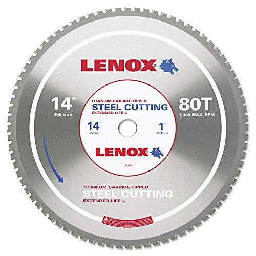 LENOX Tools Metal-Cutting Circular Saw Blade, Solid-Steel Cutting, 14-inch, 80-Tooth - Blade Grind Teeth Saw Circular