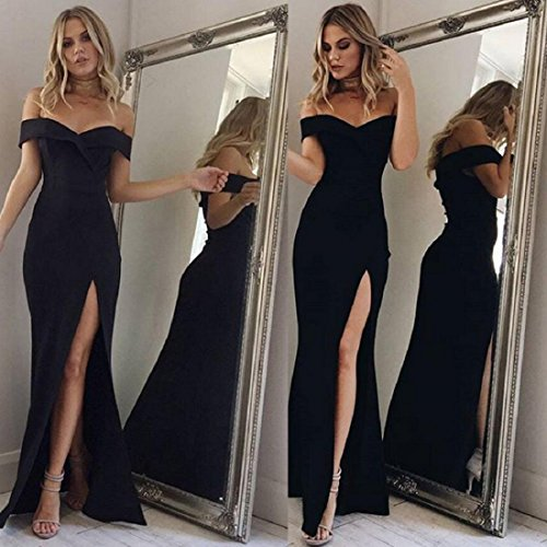 bcb4eb54e517 GONKOMA Women's Formal Prom Ball Gown Evening Party Bodycon Long Maxi Dress  (S, Black