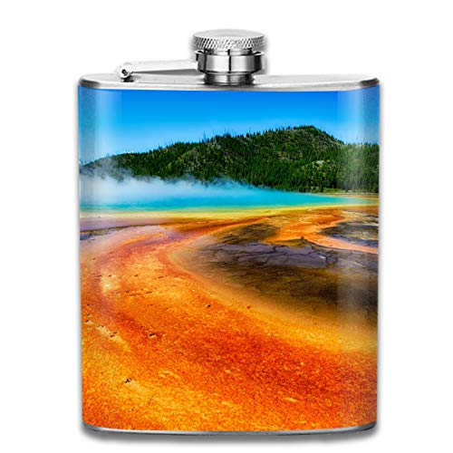Steel Stainless Flask,Grand Prismatic Spring Geyser Pocket Funnel,Screwed Top Liquor Alcohol Whiskey Spirits Hip for Men,7 OZ