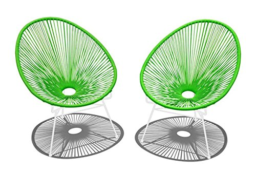 Harmonia Living HL-ACA-2LC-LGW 2 Piece Acapulco Lounge Chair Set, Lime Green