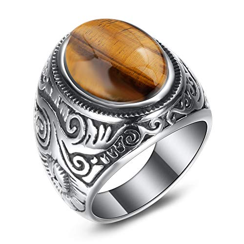 (VQYSKO Tiger Eyes Natural Ring Unique Stainless Steel Rings for Men (Y8))
