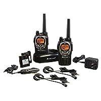 Midland - GXT1000VP4, radio bidireccional GMRS de 50 canales - Walkie Talkie de hasta 36 kilómetros de alcance, 142 códigos de privacidad, a prueba de agua, NOAA Weather Scan + Alert (Paquete de par) (Negro /Plateado)