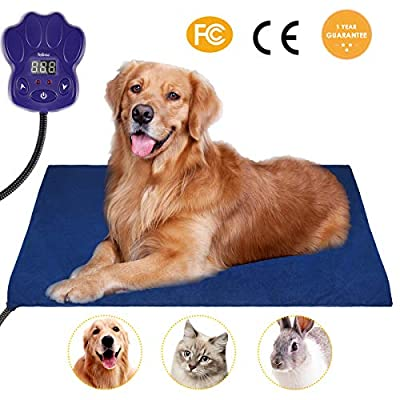 Heating Pads for Pets, 2018 Upgraded Electric Heating Pad for Dogs &Cats Warming Dog Beds Pet Mat Activated with Chew Resistant Cord Soft Removable Cover 19.7X19.7IN Blue from DOPA