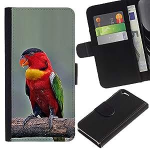Planetar® Modelo colorido cuero carpeta tirón caso cubierta piel Holster Funda protección Apple (4.7 inches!!!) iPhone 6 / 6S ( Parrot Bird Branch Red Beak Wings )